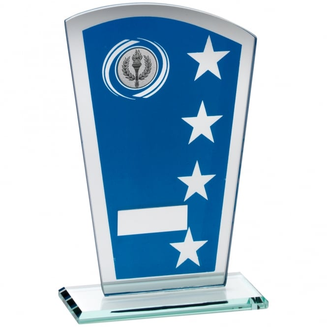 Trophies and Awards Blue & Silver Printed Glass Shield with Wreath/Star Design Trophy