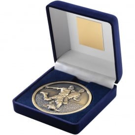 Blue Velvet Box and 70mm Football Medallion