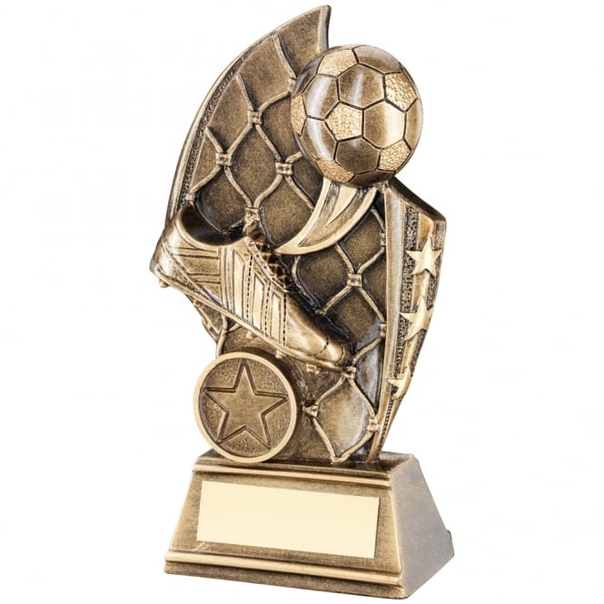 Trophies and Awards Boot & Ball in Net Curved Plaque Trophy