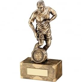 Female Football Figure Trophy with Ball on Football Base