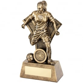 Female Football Figure with 'Y' Backdrop Trophy