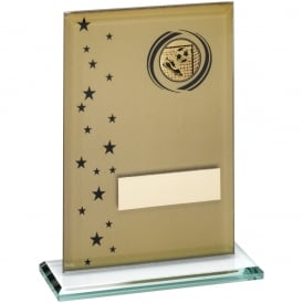 Glass Rectangle with Football Insert in Gold and Black Trophy