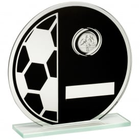 Printed Glass Round Plaque with Football and Centre Holder Trophy