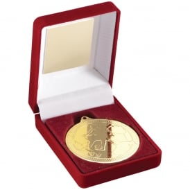 Red Velvet Box and 50mm Action Football Medal