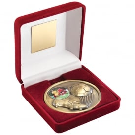 Red Velvet Box and 70mm Football Medallion