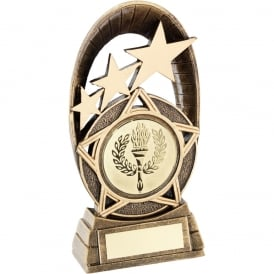 Tri-Star Oval Plaque with Large star and Insert Trophy