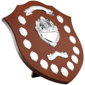 Wooden Shield with Chrome Fronts and 13 Mini Shields